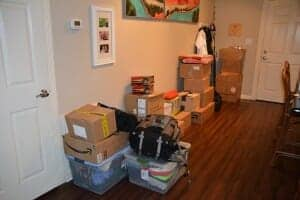 Boxes Packed in Entryway