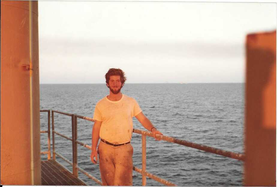 Tom on Oil platform in Mexico while working for State Boat 1982