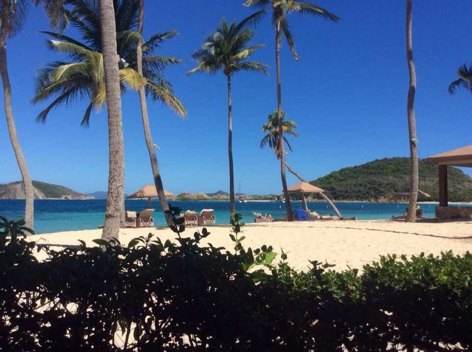 Beach and palm trees at Peter Island, British Virgin Islands.