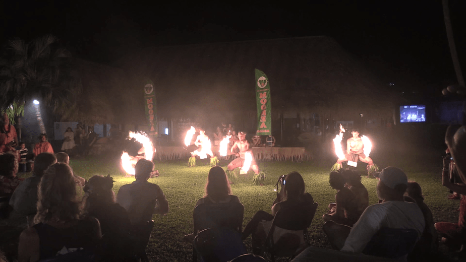 Tahitian performers with a fire dance at the Tahiti-Moorea Sailing Rendevous Party.