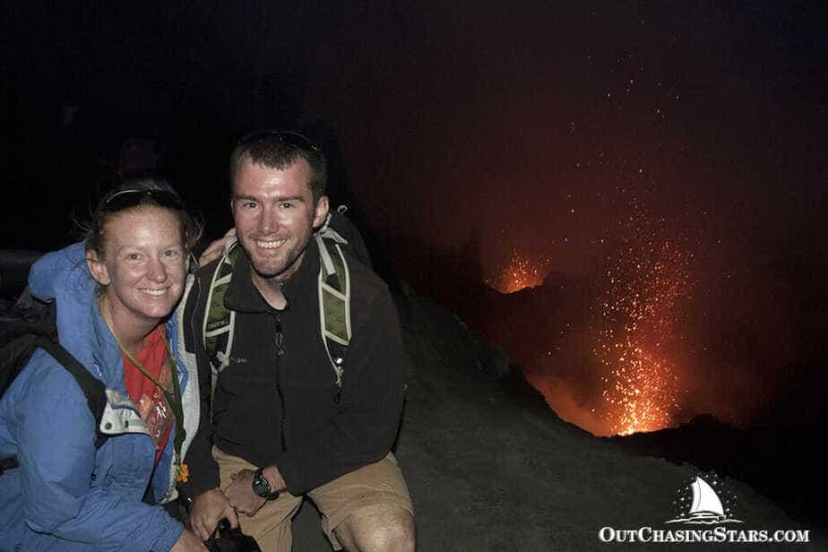 Amy and David next to Mount Yasur, an active volcano on Tanna Island, Vanuatu.