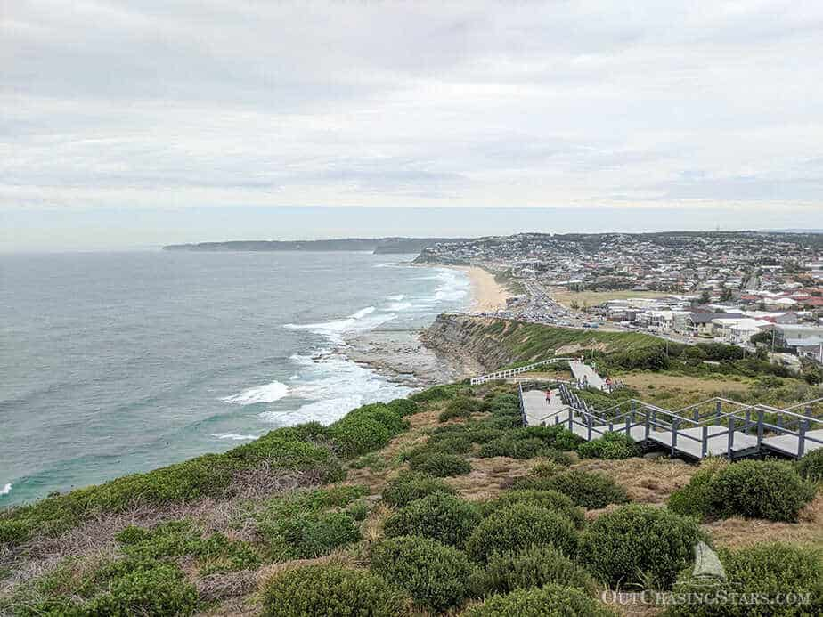 The view from the Newcastle Memorial Walk looking south towards Mereweather Beach.
