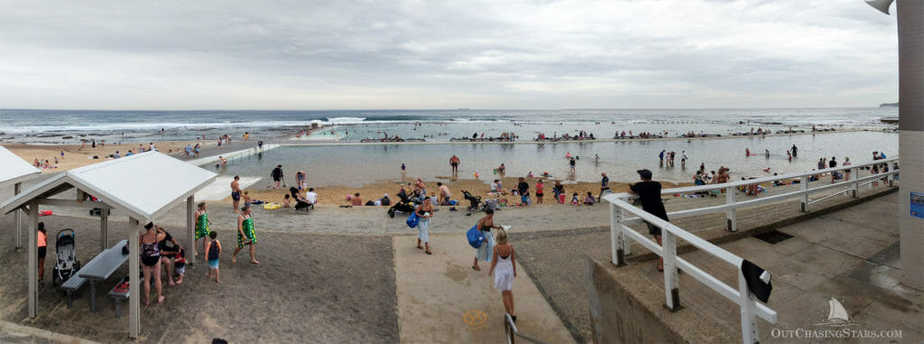 The Mereweather Ocean Baths are a popular spot for summer activity in Newcastle.