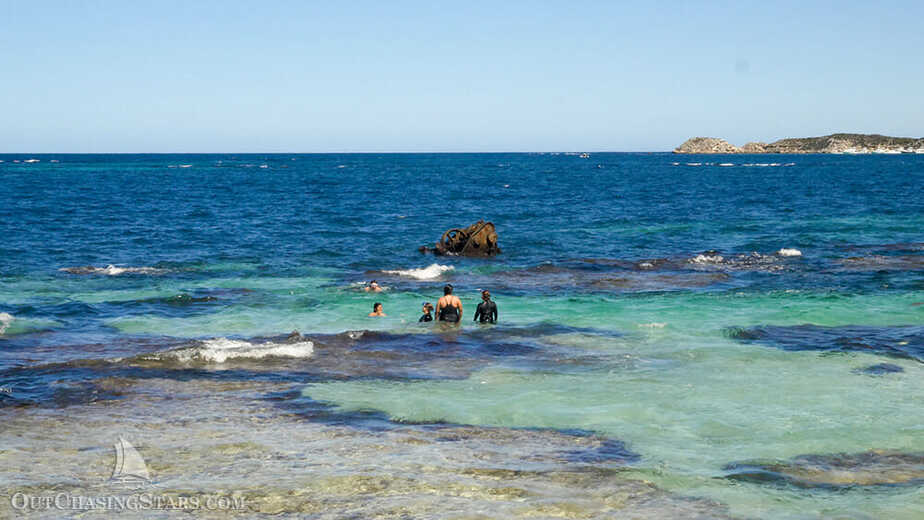 a shipwreck poking out of the water at Henrietta rocks, Rottnest Island.