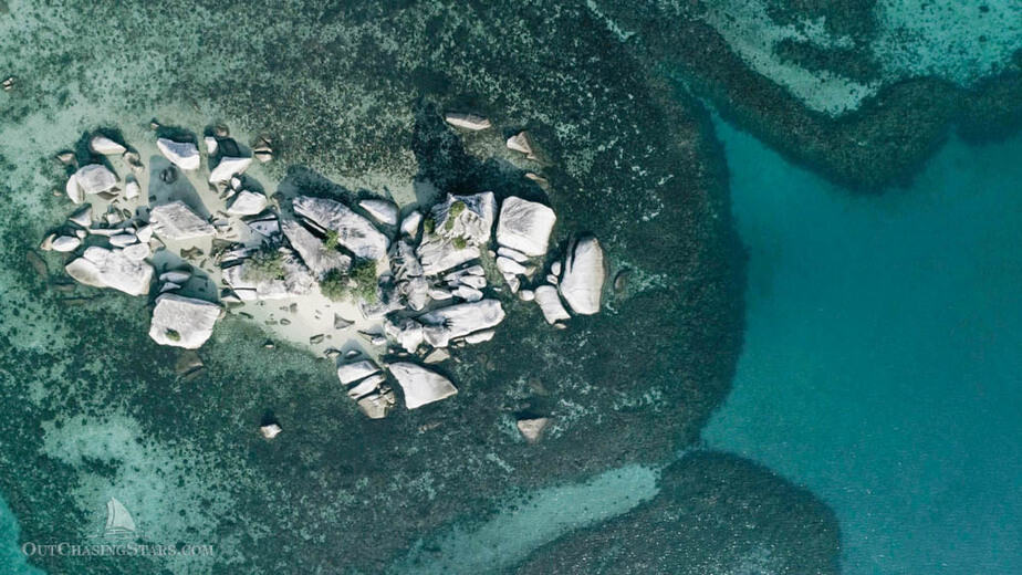 Aerial view of granite boulders in Belitung Indonesia.