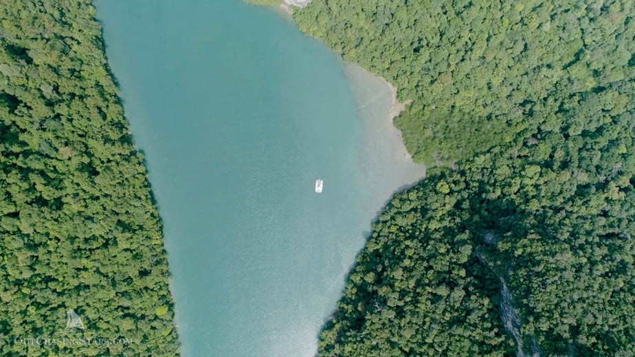 Looking down on Starry Horizons from the drone while cruising Langkawi.